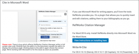 options for adding an addin from RefWorks to Microsoft Word