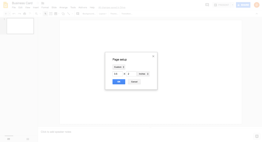 Google Slides settings for 3D printed business card
