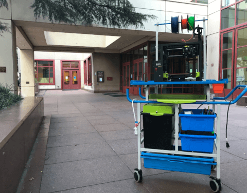 mobile Makers Lab cart in front of Library