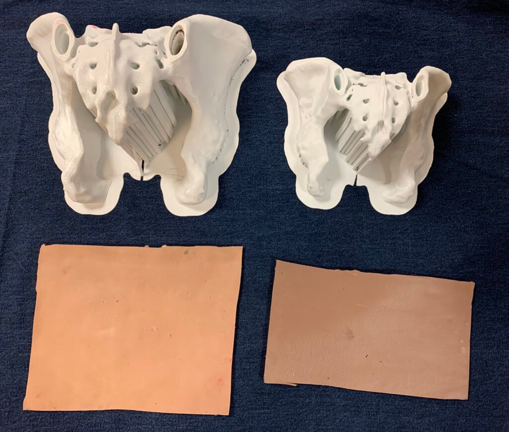 3d printed pelvis models and silicone skin pads