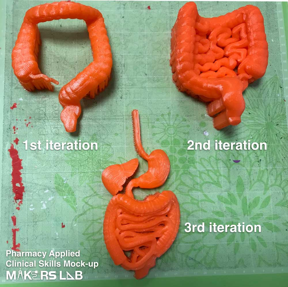 iterations of 3D printed GI tract