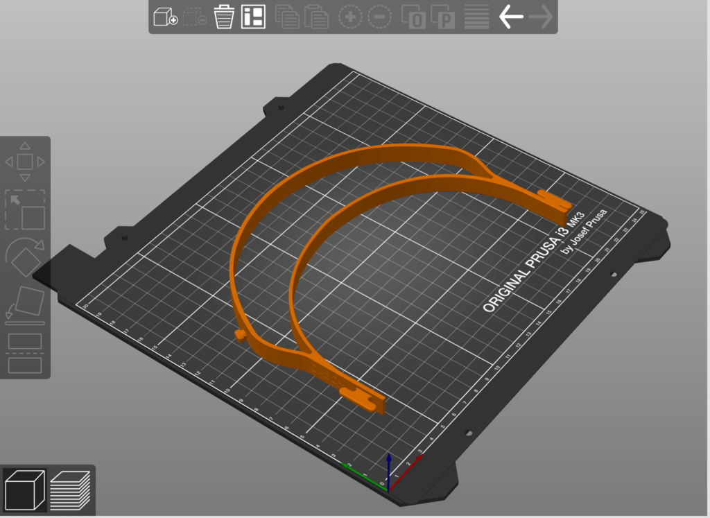 Face shield STL file setup in Prusa slicer.