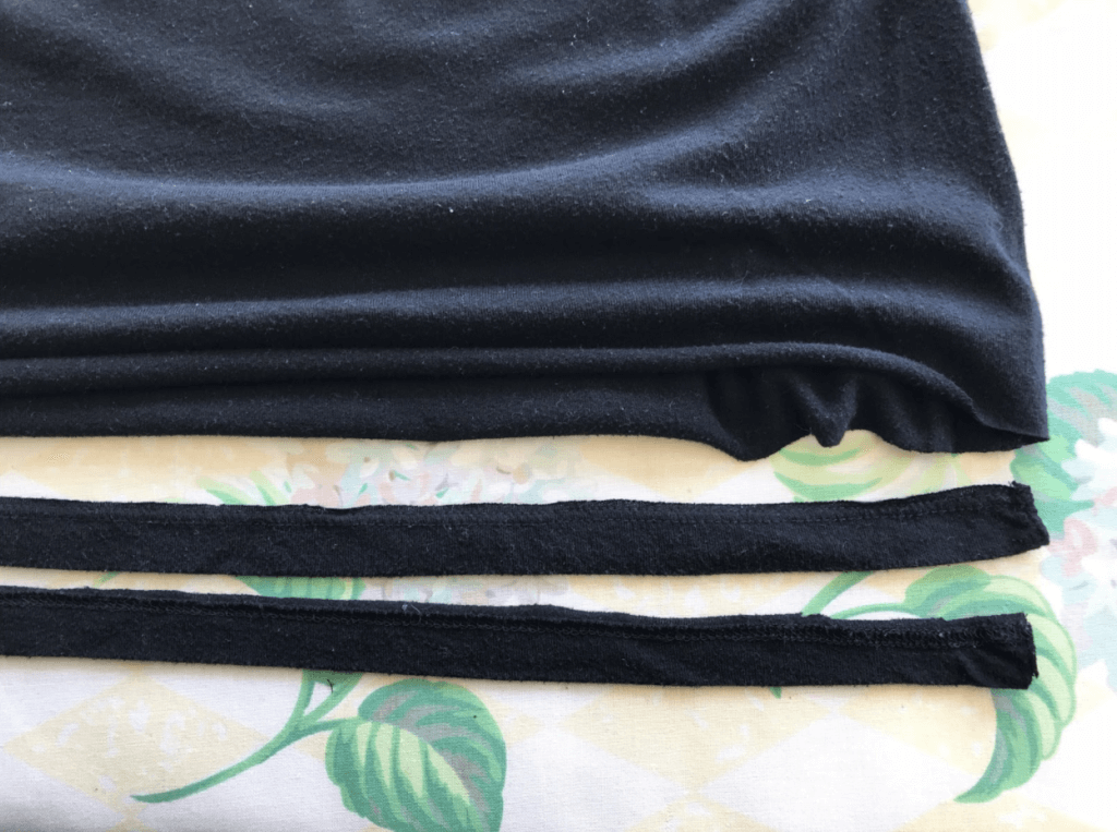 Cutting strips of T-shirt for use as no-sew straps