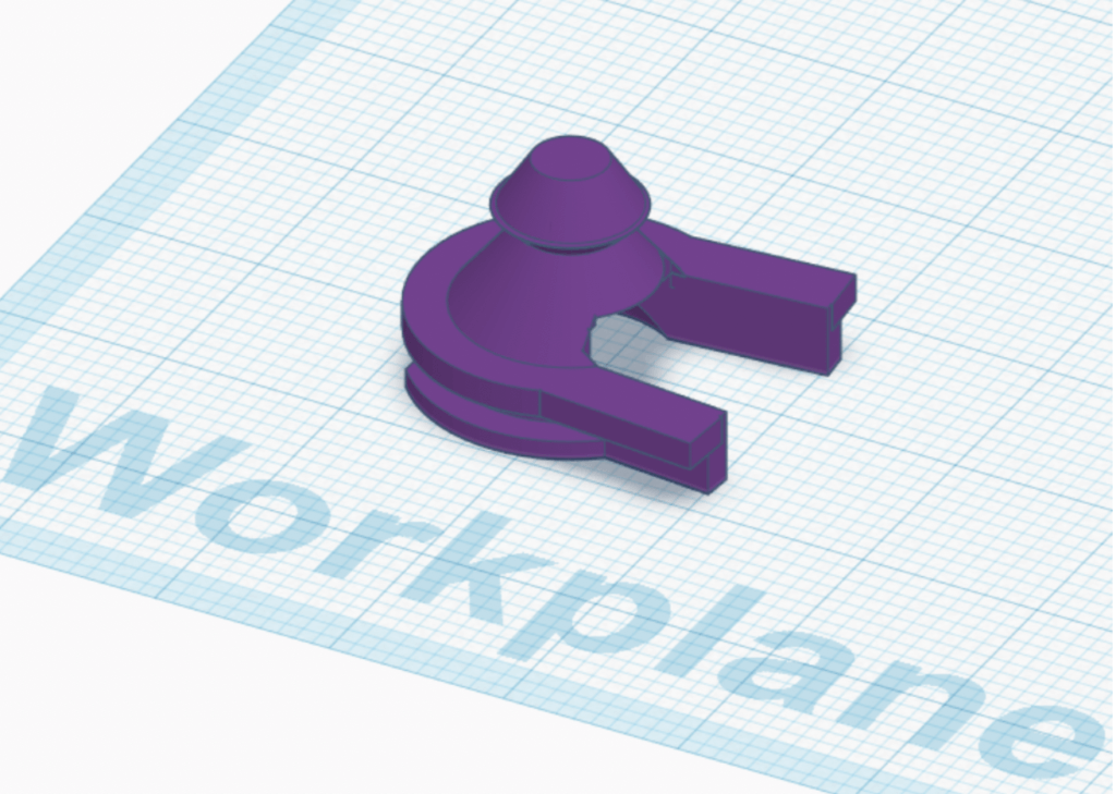 3D model of redesigned PAPR clip in Tinkercad