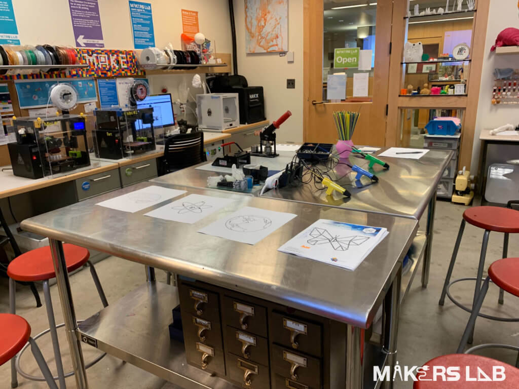 Makers Lab table with 3D printing pens