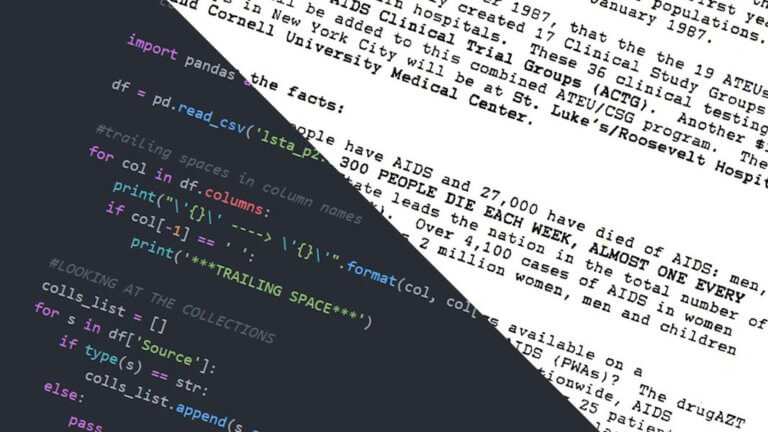image of text and programming code