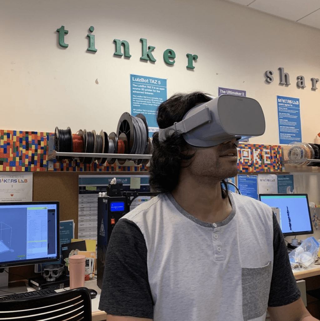 Student using VR headset before COVID-19 shelter in place