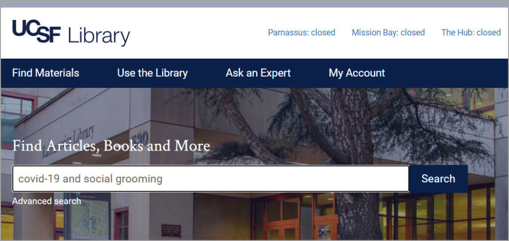 UCSF Library single search box