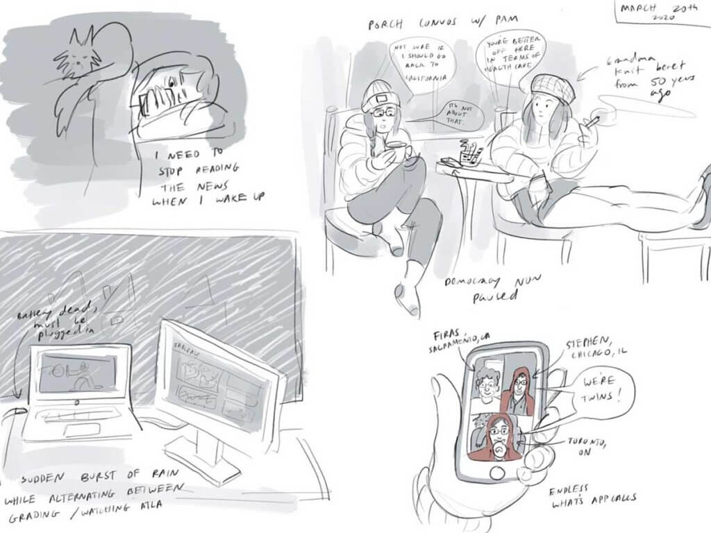 comic doodles from during the first stay at home order in Canada