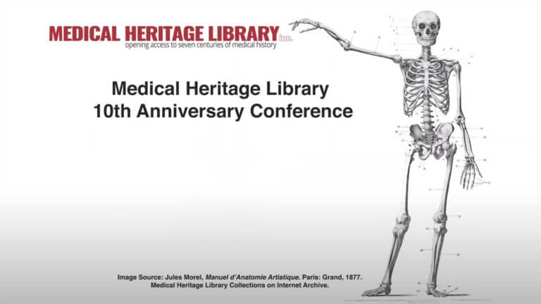 medical heritage annual conference with skeleton illustration