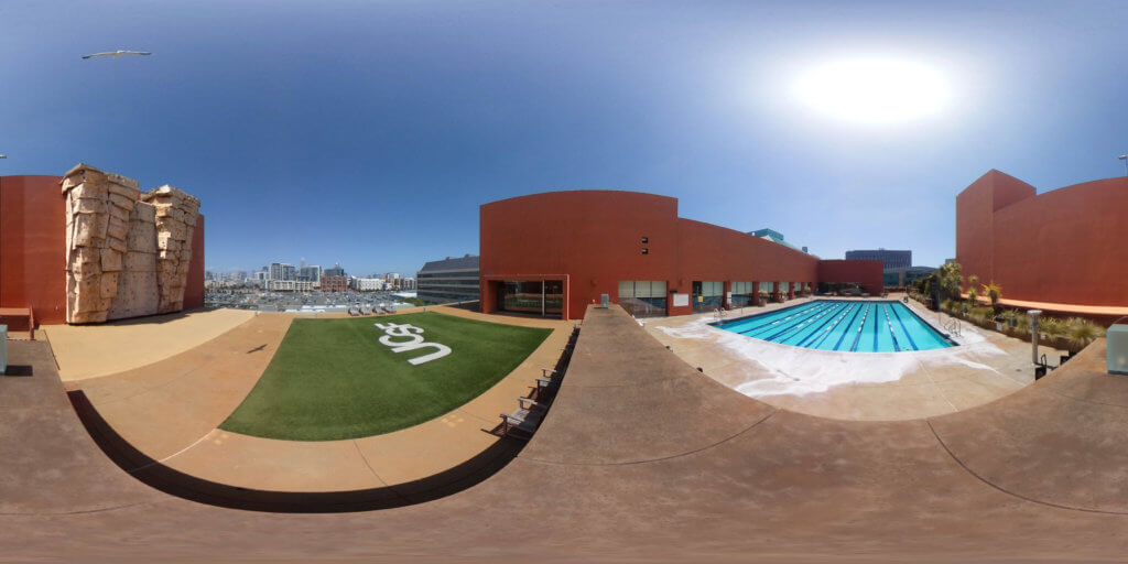 Mission Bay Fitness Center Roof Combined exposures and tripod out correctly in 3D space By Susan Merrell