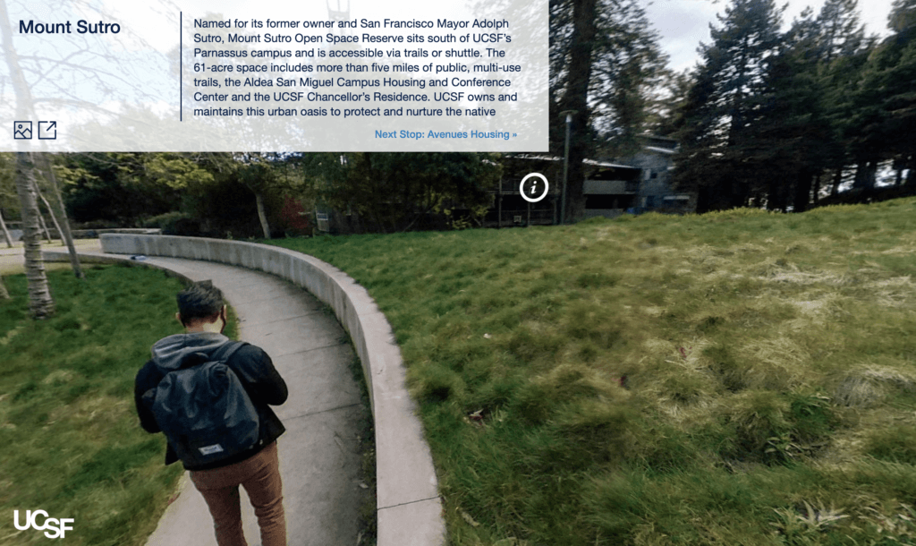 Screenshot of the Mount Sutro 360 image from the virtual tour.